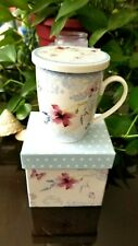 Porcelain Tea Mug Cup Coffee with Strainer Infuser Lid Butterflies & Flowers NEW