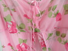 Victoria's Secret Lace NET COVER UP Nightie Pink Rose Lingerie Robe Open Front M