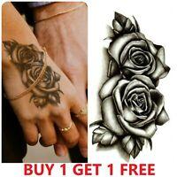 Black Double Roses Flower Temporary Tattoo, Fake Sticker Women Men Hand Arm Neck