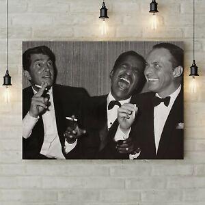 Dean Martin, Sammy Davis Jr. And Frank Sinatra - Canvas Rolled Wall Art Print