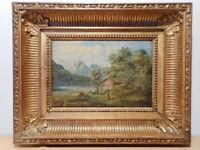 Tableau ancien 19 siècle peinture Barbizon paysage campagne lac montagne