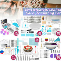 170Pcs Cake Decor Kit Tools Baking Supplies Nozzles Turntable Set Spatula Stand