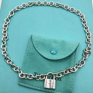 """Tiffany & Co. Sterling Silver Lock Charm Choker Necklace 16"""""""