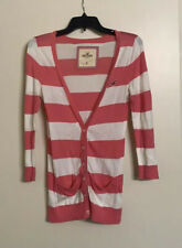 GUC Hollister Front Button Cardigan Pink White Striped Knit M Cotton