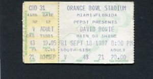 1987 David Bowie Concert Ticket Stub Miami Orange Bowl Glass Spider Tour