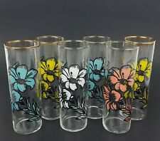 "(6) Vintage Federal Floral Highball Drinking Glasses 6.75"" Tall Flower Glass"