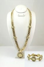 CELEBRITY ice out Heavy GOLD MEDUSA GREEK Thick CUBAN LINK CHAIN Bracelet Set BL