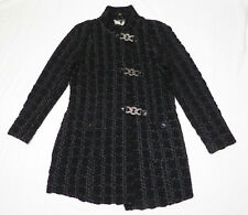 Samuel Dong Women's Jacket Size Medium Black Gray Textured Cotton Blend GUC!