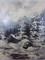 Orig Zaza Meuli Winter Scene Oil on Canvas Decorative Art Framed Painting signed