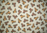 """1 YD Riverwoods """" Making Tracks"""" Work Boots on White QUILT FABRIC Debbie Fields"""