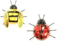 Metal Ornament Ladybird or Gold Bumble Bee 3D Wall Art Outdoor Garden Decorative