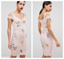 Karen Millen Light Pink Cold Shoulder Lace Dress Size 12