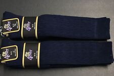 6 PAIRS Women's  knee high sock crew BOOTS socks shoe size 4-10 SOLID NAVY BLUE