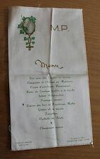 Ancien menu sur soie chalet du parc Lyon