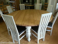 8 10 12 14 Seater Round Modern Victorian Fluted Leg Dining Table Chunky