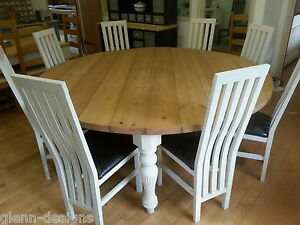 Large Round Modern Victorian Dining Table Fluted Leg Chunky Top Many sizes M-T-M