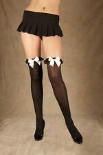 Thigh Highs W/Chiffon Ruffle & Bow, Stockings, Elegant Moments, One Plus Size