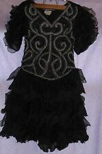 Vtg Goth ORIGAMI Tiered MEDUSSA DRESS Black/Metallic French Collezioni STRETCHY
