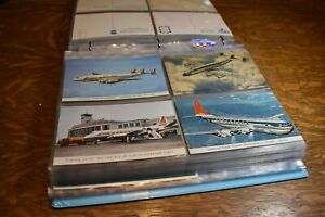 HUGE vintage AIRLINE postcard collection, TWA Delta United, MORE, airports OLD