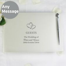 Brand New Personalised Hardback Wedding Guest Book & Pen Hearts Design