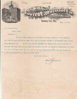U.S. FOWLER COMMISSION CO. Kansas 1902 Illustrated Logo Invoice Letter Ref 44101