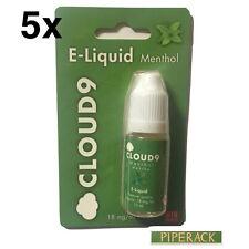 5 x Cloud 9 Menthol Premium E Liquid 18mg 5 x 10ml Bottles (50ml) Cheap Sale