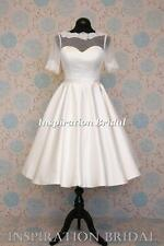 UK 1615 short knee tea length wedding dress lace size 8 10 12 14 16 18 20 22