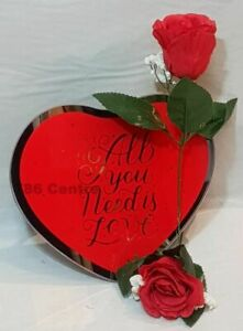 ❤️ Heart Shaped All You Need Is Love Mirror Wall Plaque Rose Valentine's Wedding