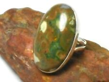 Oval  Rainforest   JASPER   Sterling  Silver  925  Gemstone  RING  -  Size  P