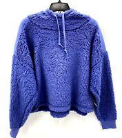 Z By Zella Sheila Fleece Hooded Pullover Contrast Detail Crop Womens XL Purple
