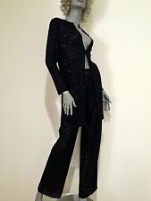 Authentic St. John evening 2pc pants suit black with tiny pebbles/ beads 4/ 6