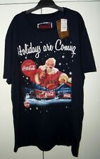 COCA COLA HOLIDAYS ARE COMING COCA COLA TRUCK BLUE CHRISTMAS T SHIRT UK XL NEW