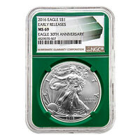 2016 $1 American Silver Eagle MS69 NGC - Early Releases Green Holder