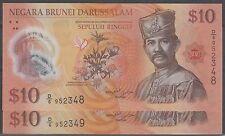 Brunei $10 polymer cons pair 2011 unc