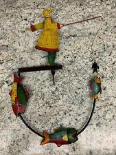 Nautical Pendulum Balance Rocking ANGLER Fisherman Fish Folk Art Toy NO STAND