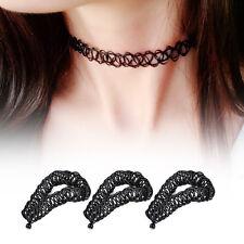 90/'S Wide Lace Floral Black Velvet Choker Necklace Punk Gothic Retro Chain CK18