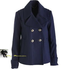 JUICY COUTURE $328 Beautiful!! Navy Regal A-Line Wool Pea Coat  L