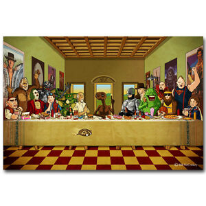 Beetlejuice The Last Supper Cartoon Funny Art Silk Poster 13x20 24x36 inch