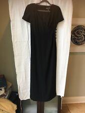 Women's Short Sleeve Long Black Dress By Linda Allard/Ellen Tracy Size 2
