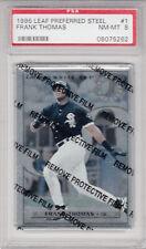 1996 Leaf Preferred Steel Frank Thomas Steel Stats White Sox Card #1 PSA 8