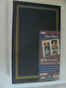 """Photo Album 204 slip-in Pockets for 4"""" x 6"""" by Pioneer NEW Black w/ gold trim"""