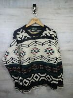 vtg Cosby Style marc lewis Knit 100% shetland Wool  sweater jumper refA21 Large