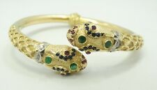 "18K Yellow Gold Dia.Emerald Sapphire Ruby Snake Hinge Cuff Bracelet 6.25"" D5640"