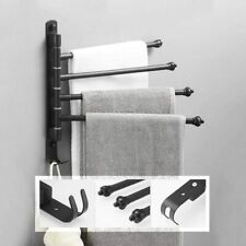 Swivel 4 Swing Arm Towel Holder Bar Rails Rack Wall Mounted Stainless Steel UK
