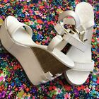 TORY BURCH $325 Carlee ivory leather logo detail wedge Heels Size 8