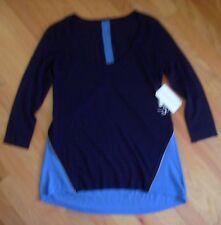NWT Autumn Cashmere 2 Tone Scoop Neck Zipper 100% Cashmere Sweater Blue XS $324