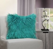 Luxurious Soft Shaggy Mongolian Faux Fur Teal Cushion Cover 43 X 43 Cms