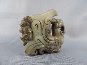 Antique Chinese Hetian Jade Copper-bound Lucky Phoenix Statue Pendant