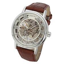 Reloj De Pulsera Sewor Para hombres MECÁNICO ESQUELETO de viento a mano Transparente Vintage 22
