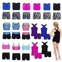 2pcs Girl Ballet Dance Gym Bodysuit Tankini Outfit Tank Top+Bottoms Set Swimsuit